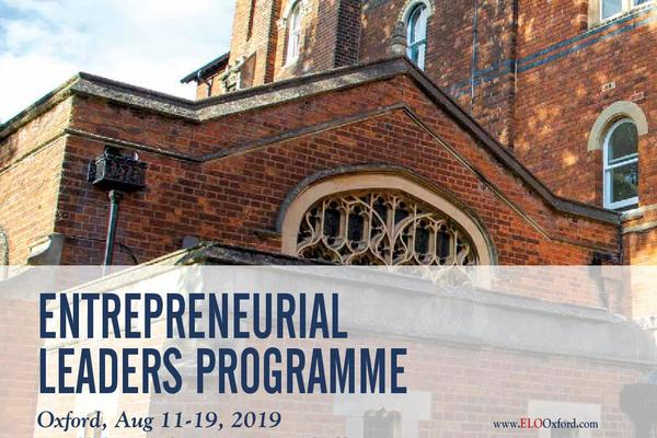 Poster for Entrpreneurial Leaders Programme 2019