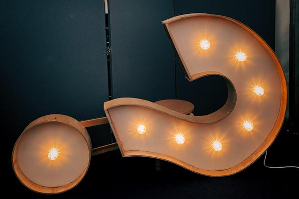 Photo of a question mark shaped light