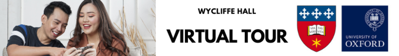 Flyer for the Wycliffe Hall virtual tour showing 2 people looking at something