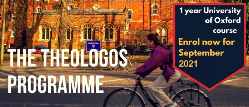 Banner for the Theologos Programme - enroll now for September 2021