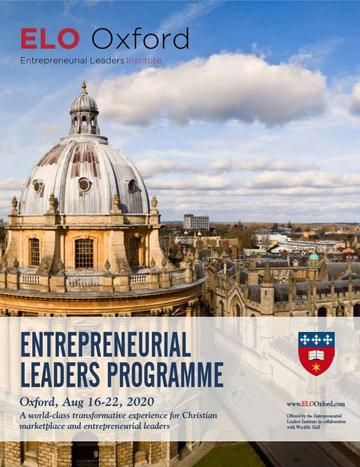 Flyer for the Entrepreneurial Leaders Programme 2020